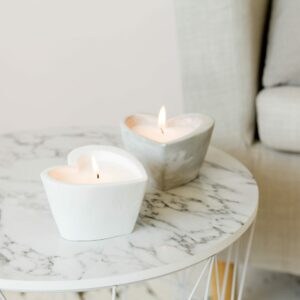 Set of 2 Candle in Heart Shaped Cement Pots