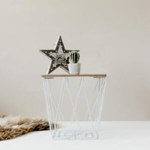 White Geometric Wire Square Side Table