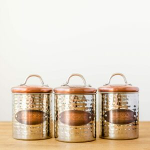 Copper Lid Tea, Coffee & Sugar Canisters