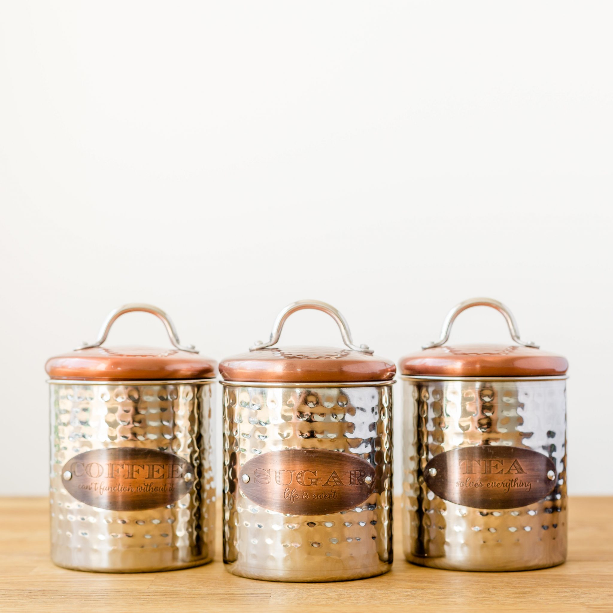 Copper lid tea coffee sugar canisters