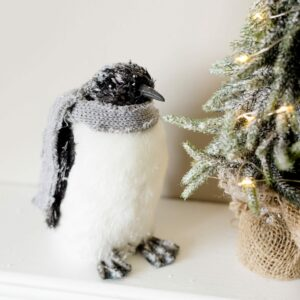 Patrick The Frosted Christmas Penguin & His Cotton Scarf