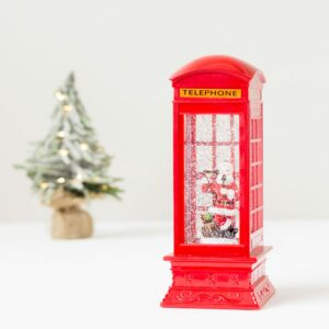 Christmas Red Water Spinning Telephone Box