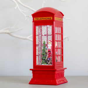 Christmas Glitter Red London Telephone Lantern