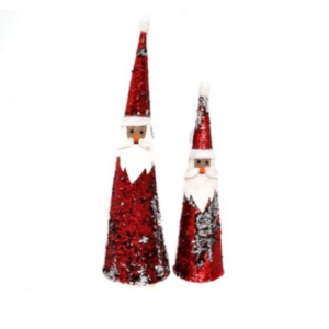 Set of 2 Reversible Sequin Free Standing Santa Claus