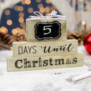 Wooden Days Until Christmas Countdown Chalkboard