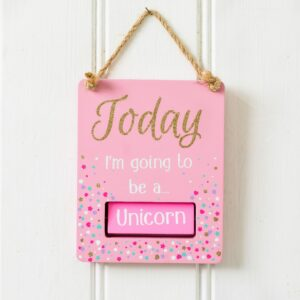 Pink Glitter Unicorn/Mermaid Rotating Hanging Sign