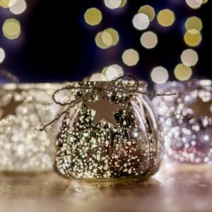 Set of Three Mottled Christmas LED Jars