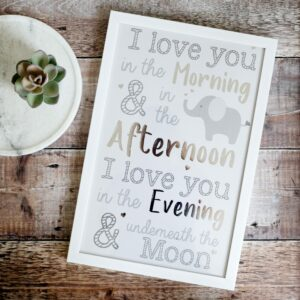 I Love You Underneath The Moon Elephant Framed Plaque