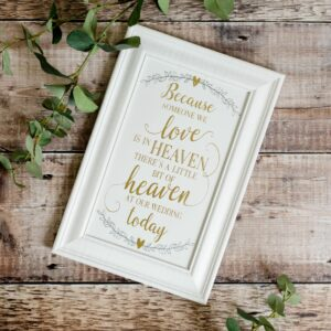 A Little Bit of Heaven Wedding Remembrance Plaque