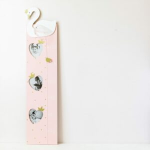 Pink & Gold Swan Wooden Height Chart
