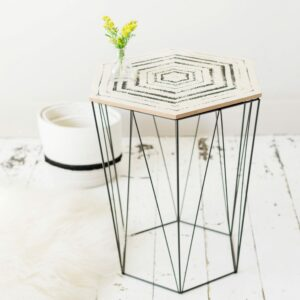 Black Hexagon Side Table with Patterned Print