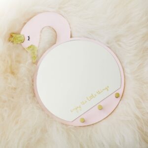 Pink & Gold Swan Mirror With Hooks