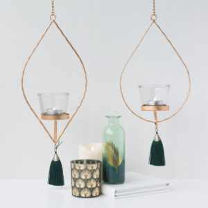 Gold Hanging Tealight With Green Tassel Assortment