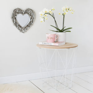 White Geometric Wire Round Side Table - Wooden Effect