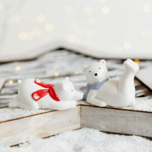 Set of Two Cheeky Polar Bears with Scarf
