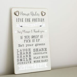 Heart House Rules Hanging Sign