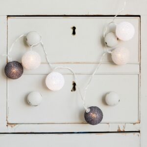 Grey & White LED Ball String Lights