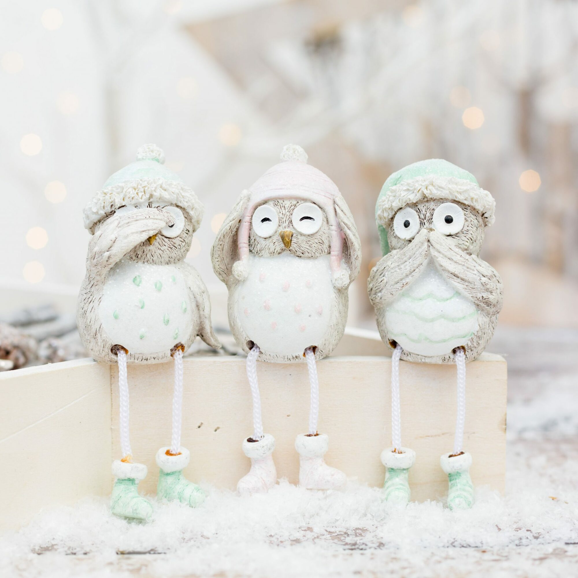 Set of 3 Christmas Shelf Sitting Owls with Pastel Hats