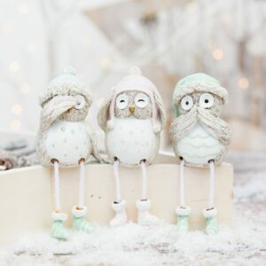 Silver Christmas Shelf Sitting Owls