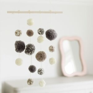 Grey Pom Pom Mobile Decoration
