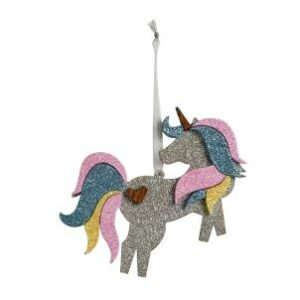 Christmas Rainbow Sparkle Unicorn Decoration