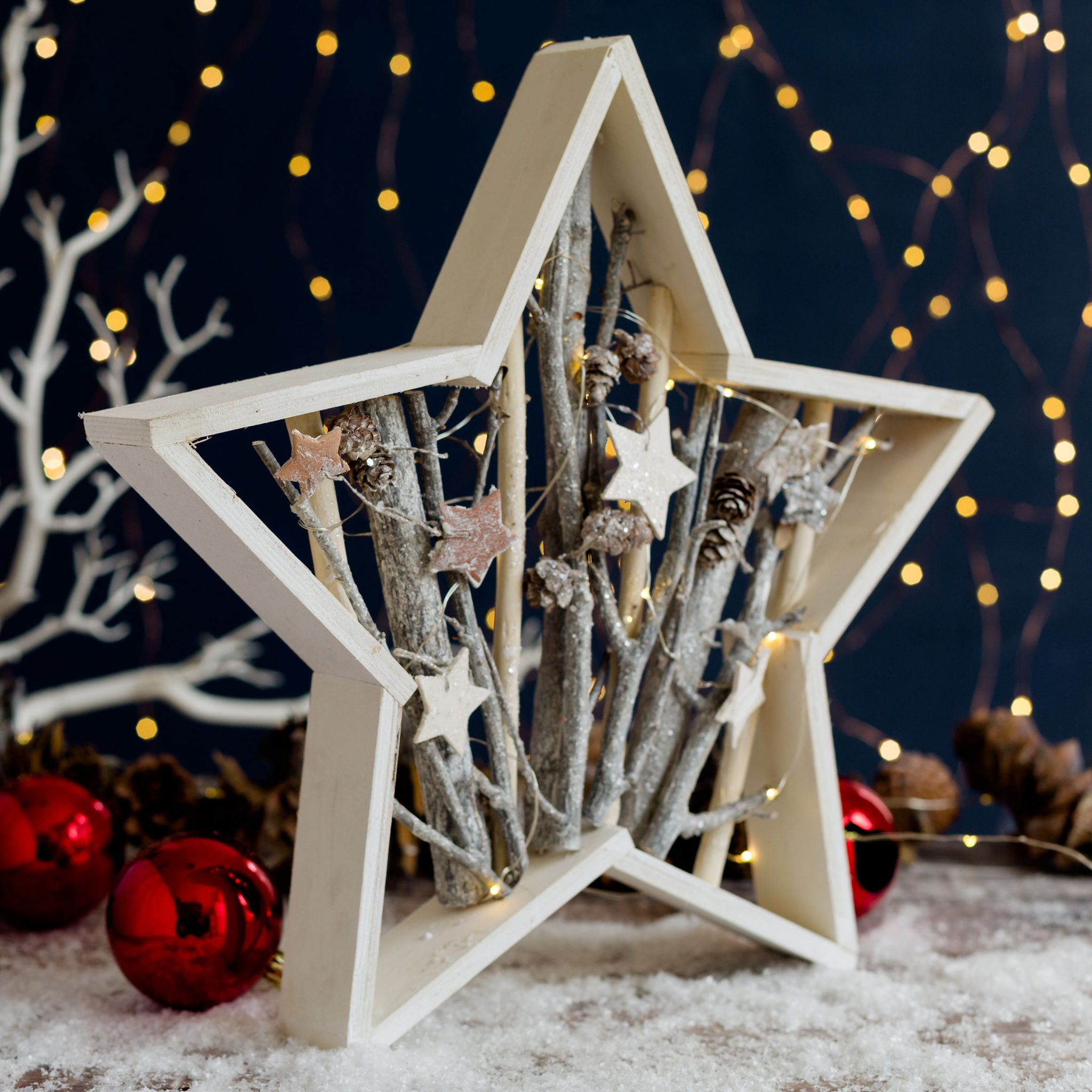 Star Frame With Glittery Branches
