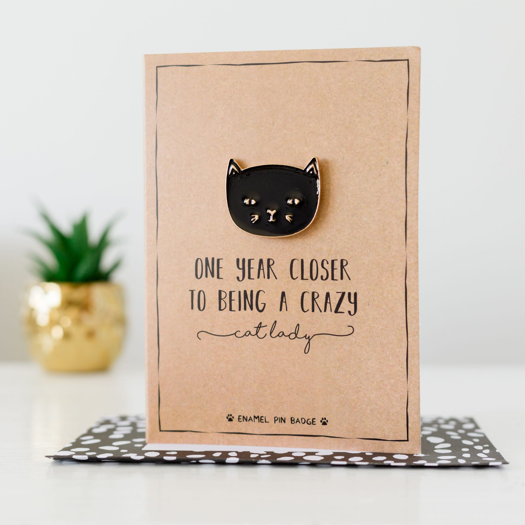 Crazy Cat Lady Card With Pin Badge