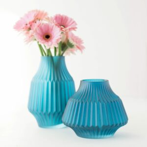 Matte Blue Stripes Vase Assortment