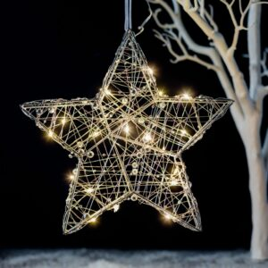 Silver LED Wire Hanging Star Decoration