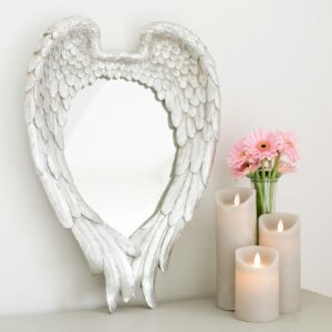 Antique Silver Angel Wing Mirror