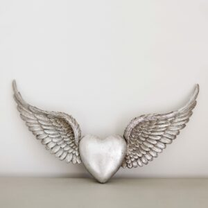 Silver Heart Wings Wall Decoration