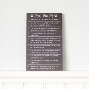 Grey Wooden Dog Rules Plaque