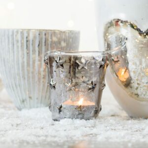 Small Grey Star Design Tealight Holder