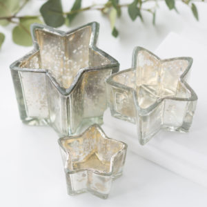 Silver Star Shaped Tea Light Holder Assortment