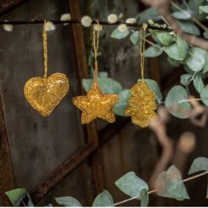 Mini Gold Beaded Hanging Decorations