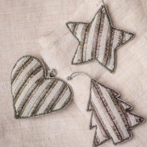 Cream & Silver Stripe Beaded Christmas Hanging Decoration Assortment
