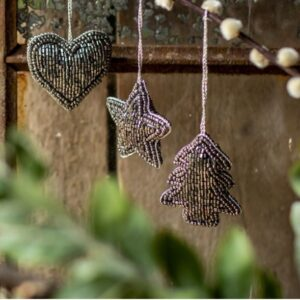 Mini Dark Grey Beaded Hanging Decorations