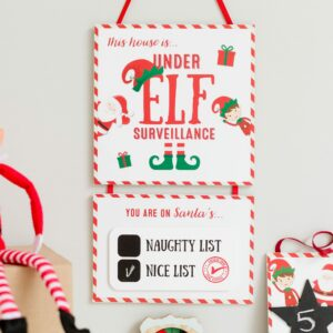Christmas Elf Surveillance Sign