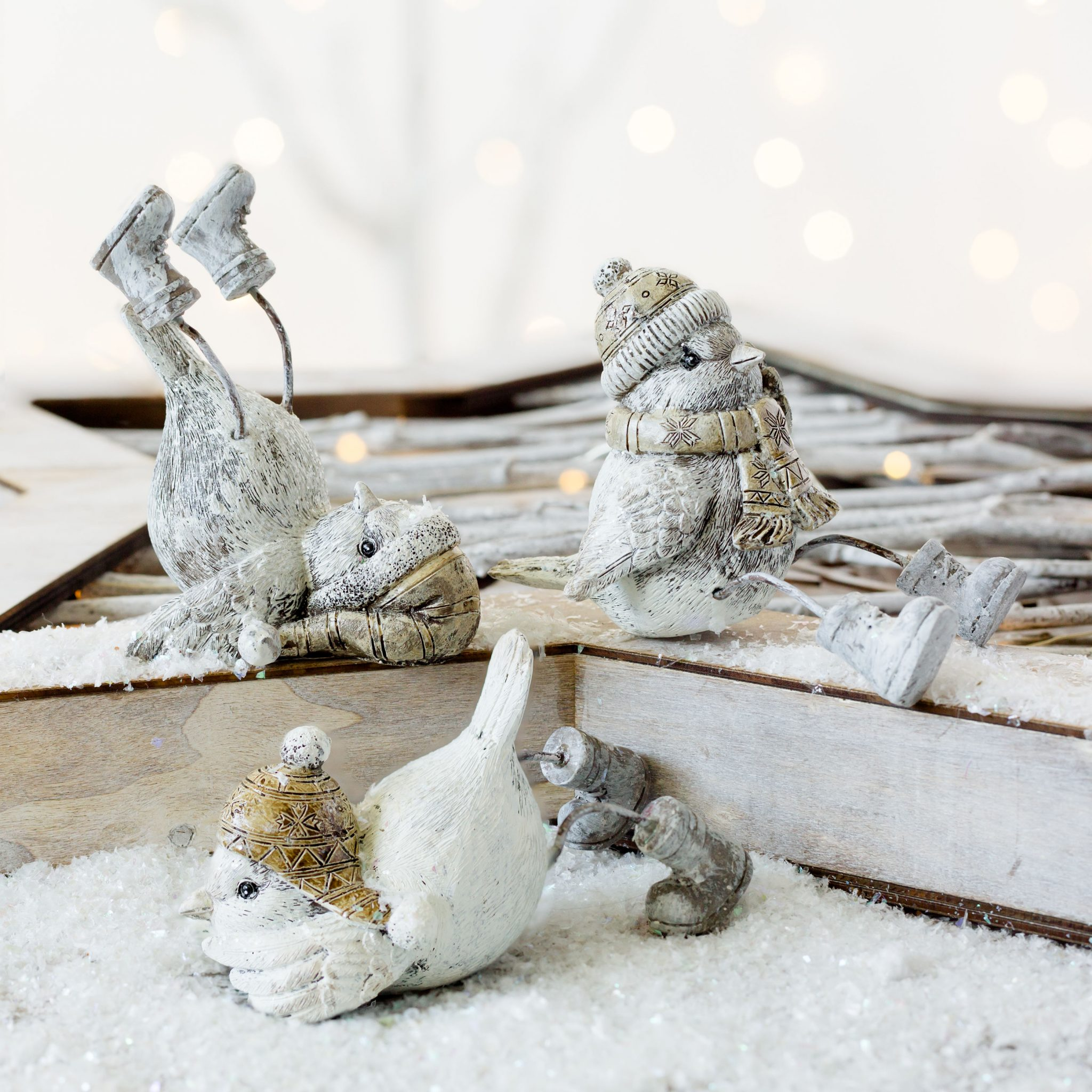 Set of 3 Christmas Birds With Winter Hats