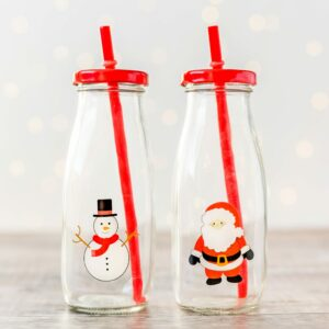 Set Of Two Christmas Milk Bottles With Straws