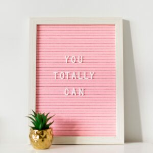 Pink Felt Letter Board With White Frame