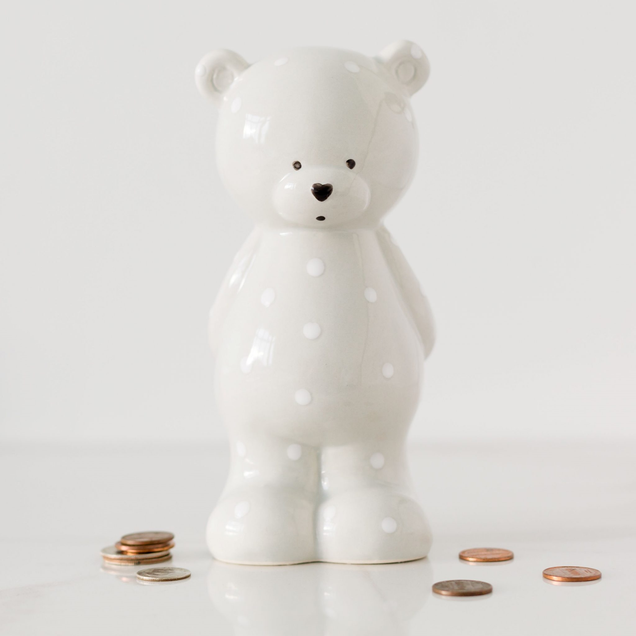 Grey Standing Teddy Money Box