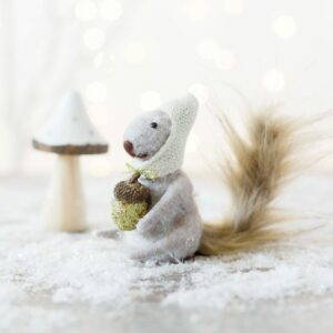 Felt Squirrel & Silver Toadstools Set