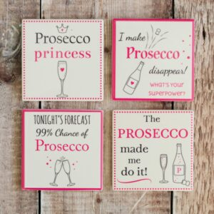 Ceramic Prosecco Coasters Set