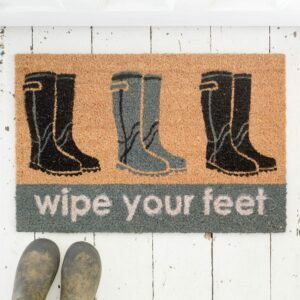 Wellington Boots Wipe Your Feet Doormat