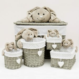 Set Of 5 Baby Rabbit Wicker Storage Baskets