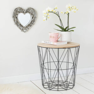 Black Geometric Wire Round Side Table – Wooden Effect Top