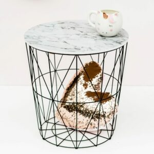 Marble Effect Black Side Table