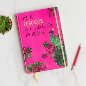 Bright Pink & Gold Peacock A5 Notebook