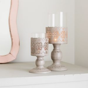 Grey Flower Cut Out Metal Candle Holder Set